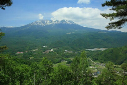 View of Mt. Ontake from Shiroyama Observatory